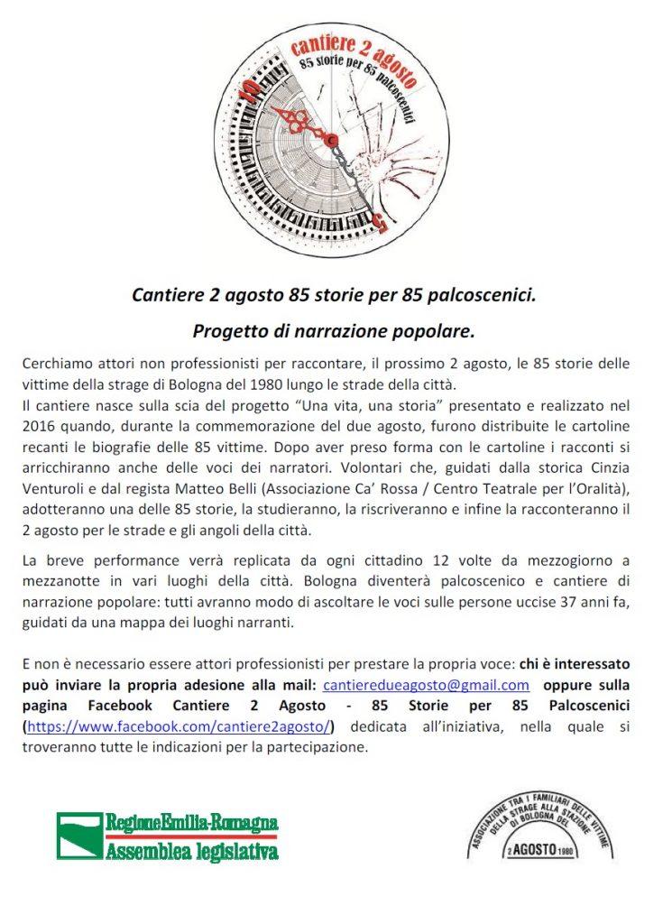 ricerca attori anche non professionisti per progetto teatrale a Bologna